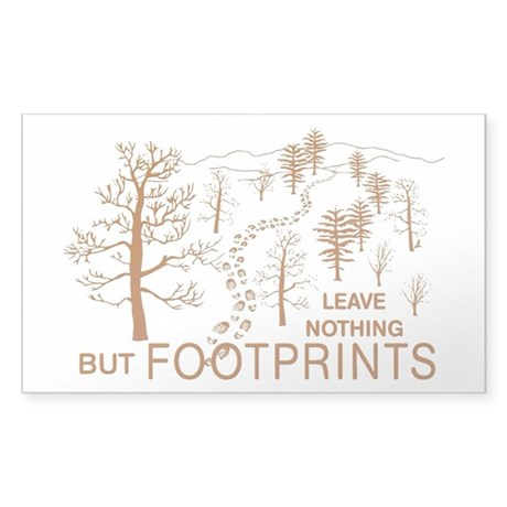 Leave Nothing but Footprints Brown Sticker (Rectan