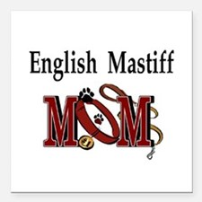"English Mastiff Mom Square Car Magnet 3"" x 3"""