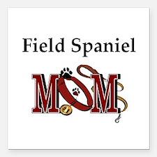 "Field Spaniel Mom Square Car Magnet 3"" x 3"""
