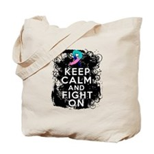 Thyroid Cancer Keep Calm and Fight On Tote Bag