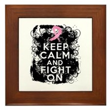 Breast Cancer Keep Calm and Fight On Framed Tile