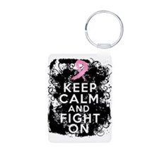 Breast Cancer Keep Calm and Fight On Keychains