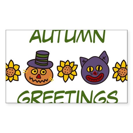 Autumn Greetings Sticker (Rectangle)