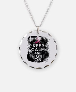 Throat Cancer Keep Calm and Fight On Necklace