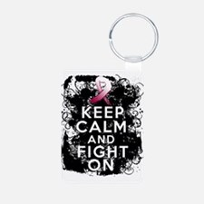 Throat Cancer Keep Calm and Fight On Keychains