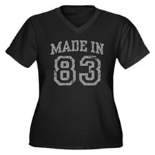 Made In 83 Women's Plus Size V-Neck Dark T-Shirt