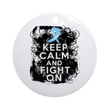Prostate Cancer Keep Calm and Fight On Ornament (R