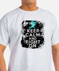 Peritoneal Cancer Keep Calm and Fight On T-Shirt