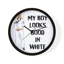 MY BOY LOOKS GOOD IN WHITE Wall Clock