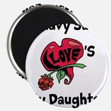 """A navy Sailor Loves my Daughter 2.25"""" Magnet (10 p"""