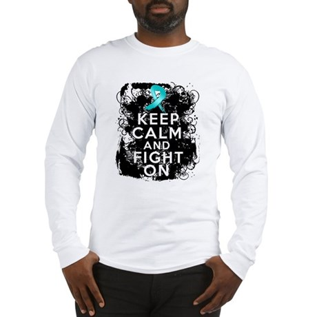 Ovarian Cancer Keep Calm and Fight On Long Sleeve