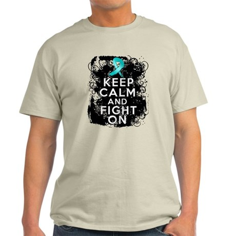 Ovarian Cancer Keep Calm and Fight On Light T-Shir