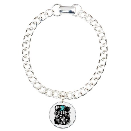 Ovarian Cancer Keep Calm and Fight On Charm Bracel