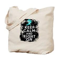 Ovarian Cancer Keep Calm and Fight On Tote Bag