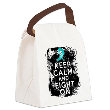 Ovarian Cancer Keep Calm and Fight On Canvas Lunch