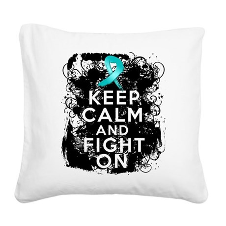 Ovarian Cancer Keep Calm and Fight On Square Canva