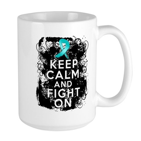 Ovarian Cancer Keep Calm and Fight On Large Mug