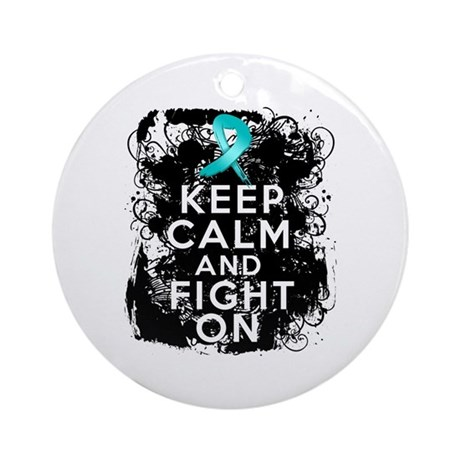 Ovarian Cancer Keep Calm and Fight On Ornament (Ro