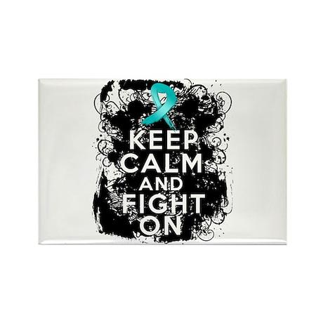 Ovarian Cancer Keep Calm and Fight On Rectangle Ma