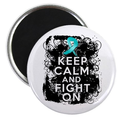"Ovarian Cancer Keep Calm and Fight On 2.25"" Magnet"