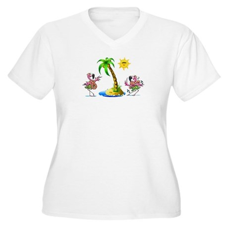 Flamingo's at the beach Women's Plus Size V-Neck T
