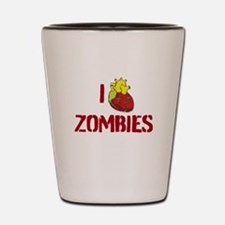 I heart zombies Shot Glass