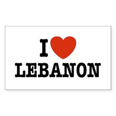 I Love Lebanon Rectangle Sticker