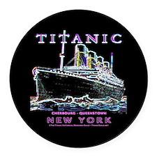 Titanic Neon (black) Round Car Magnet