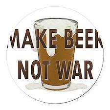 Make Beer Not War Round Car Magnet