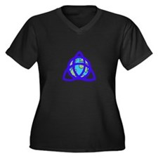 Triqeutra Earth Women's Plus Size V-Neck Dark T-Sh