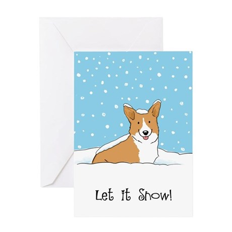 Happy Snow Corgi Greeting Card