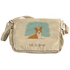 Happy Snow Corgi Messenger Bag
