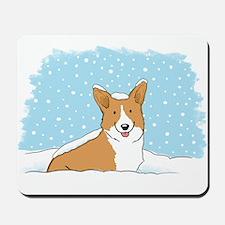 Happy Snow Corgi Mousepad