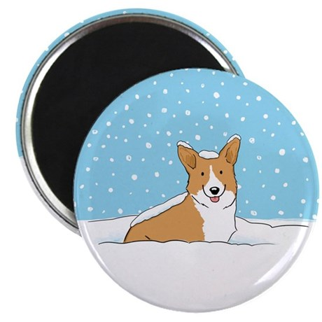 "Happy Snow Corgi 2.25"" Magnet (10 pack)"