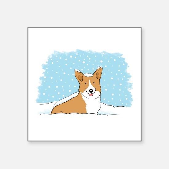 """Happy Snow Corgi Square Sticker 3"""" x 3"""""""