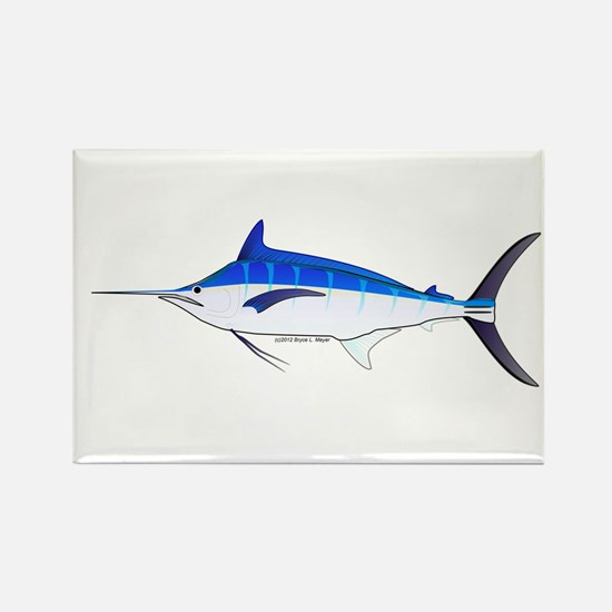 Blue Marlin fish Rectangle Magnet