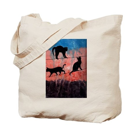 Cats on a Wire Tote Bag