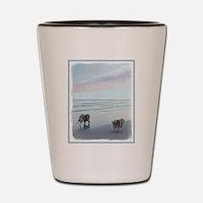 Keeshonds at the Seashore Shot Glass