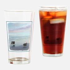 Keeshonds at the Seashore Drinking Glass