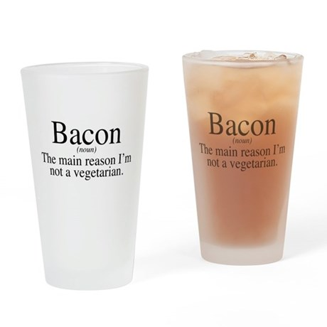Bacon Black Drinking Glass