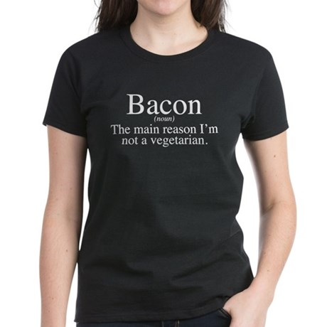 Bacon Black Women's Dark T-Shirt