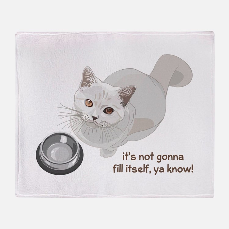 Feed Me Kitty Throw Blanket