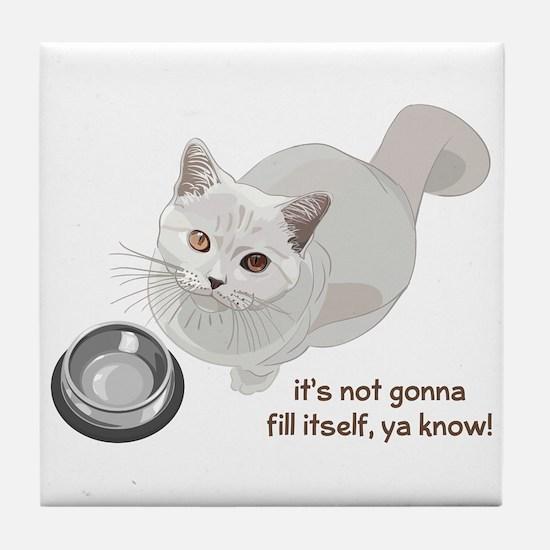 Feed Me Kitty Tile Coaster