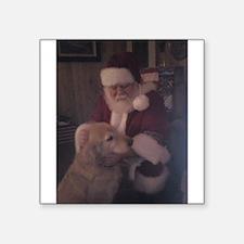 Santa with Hooper the Golden Retriever Square Stic