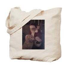 Santa with Hooper the Golden Retriever Tote Bag