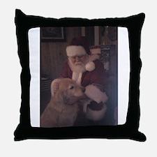 Santa with Hooper the Golden Retriever Throw Pillo