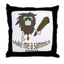 Caveman sammich Throw Pillow