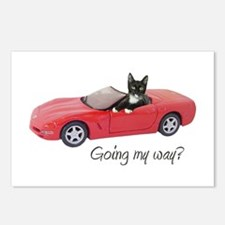 Cat Red Car My Way Postcards (Package of 8)