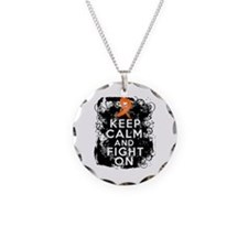 Multiple Sclerosis Keep Calm and Fight On Necklace