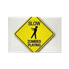 Slow... Zombies Playing Rectangle Magnet